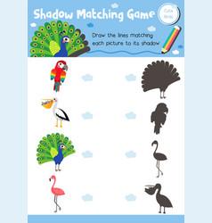 Shadow matching game bird animal vector