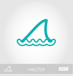Shark fin outline icon summer vacation vector