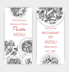 sketch - pasta card menu vector image