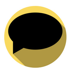 speech bubble icon flat black icon with vector image