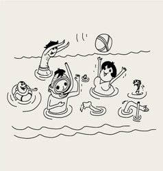 Summer vacation family in sea vector