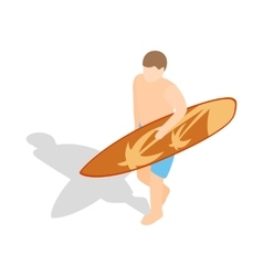 Surfer carries his surfboard icon vector image