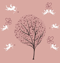 Tree love and angels vector