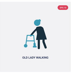 two color old lady walking icon from people vector image
