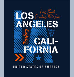 typography los angeles long beach vector image