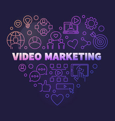 Video marketing colored outline heart vector