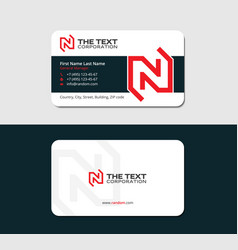 Visiting card with red letter n vector