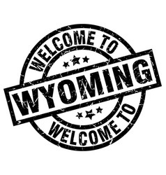 welcome to wyoming black stamp vector image