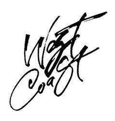 West coast modern calligraphy hand lettering vector