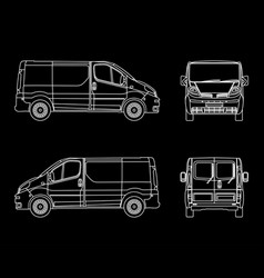 white linear car cargo minivan isolated on vector image