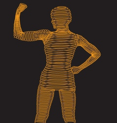 Wireframe Body Flexing Muscle vector