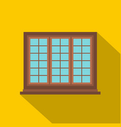 Wooden brown tricuspid window icon flat style vector