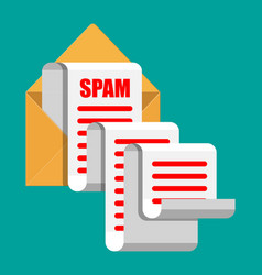 yellow paper enevelope and spam mail concept vector image