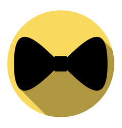 bow tie icon flat black icon with flat vector image