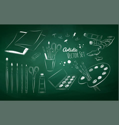 chalked set of artists supplies vector image