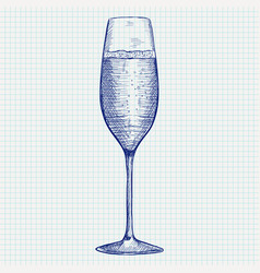 champagne glass doodle on notebook sheet vector image