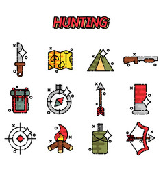 hunting flat concept icons vector image vector image