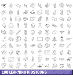 100 learning kids icons set outline style vector image vector image