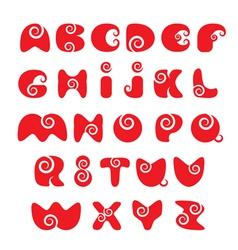 ABC - english alphabet - red funny spiral cartoon vector image vector image