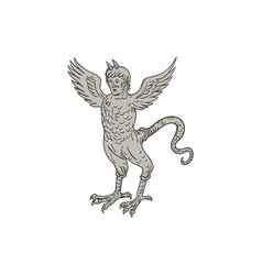 ancient winged monster drawing vector image vector image