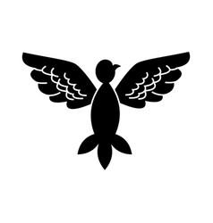 Bird pigeon freedom wings open silhouette vector