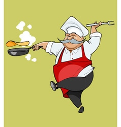 cartoon mustachioed chef joy jumping with a frying vector image vector image