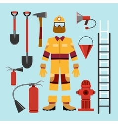 Flat firefighter uniform and tools equipment vector image