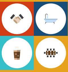 flat icon life set of tub partnership cappuccino vector image vector image