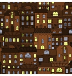 Old town at night retro seamless pattern vector image vector image