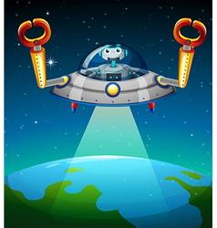 A robot inside the spaceship vector image