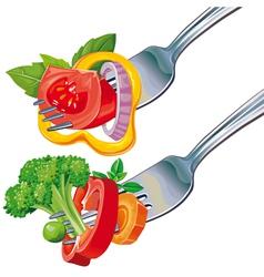 Fresh vegetable mix on fork vector image vector image