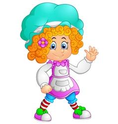 girl waving hand cartoon vector image vector image