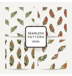 Set of seamless pattern of feathers Doodle vector image