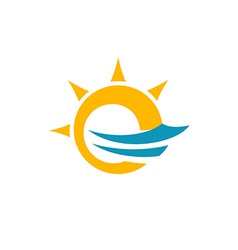 Sun and sea symbol vector image vector image