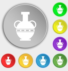 Amphora icon sign Symbol on eight flat buttons vector image