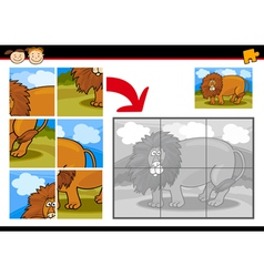 cartoon lion jigsaw puzzle game vector image vector image