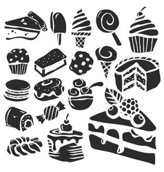 dessert and baking icons vector image vector image
