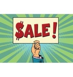 Hand sale billboard vector