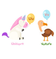 isolated alphabet letter u-unicornv-vulture vector image