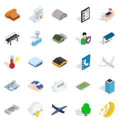 military aviation icons set isometric style vector image