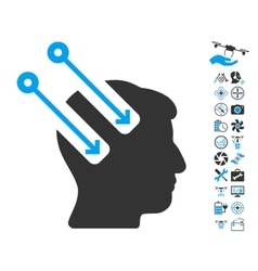 Neural Interface Icon With Copter Tools Bonus vector image vector image