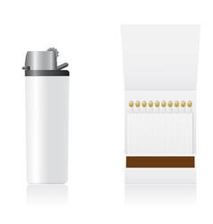 set of white blank lighter and matches vector image