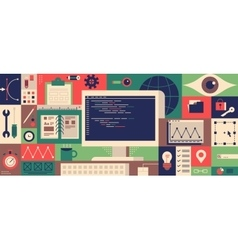 Web programming design flat concept vector image vector image