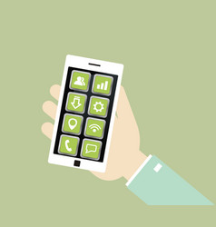 white smartphone with icons in the hand vector image