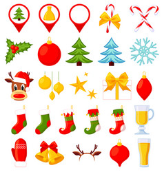 26 colorful cartoon christmas elements vector image