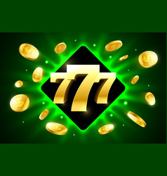 777 triple lucky sevens bright casino banner with vector