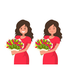 a woman is holding a bouquet flowers vector image