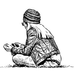 A young townswoman resting on lawn in city vector