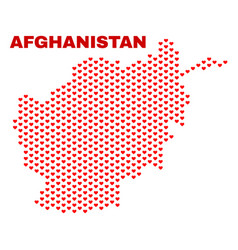 afghanistan map - mosaic of heart hearts vector image