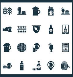 alcohol icons set with beer bottle tablet beer vector image